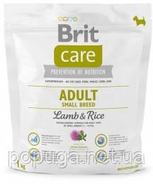 Корм Brit Care Adult Small Breed Lamb&Rice с рисом и ягненком для взрослых собак мелких пород, 1 кг