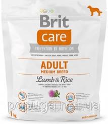 Корм Brit Care Adult Medium Breed Lamb&Rice с рисом и ягненком для взрослых собак средних пород, 1 кг