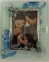 """Рамка """"Два цветка"""", голубая, матовая, 10х15"""