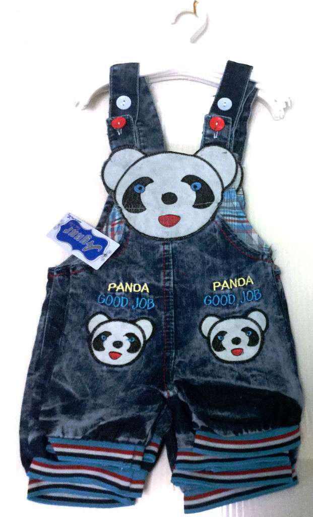 """Джинсовый комбинезон-шорты """"Панда"""" на 6 мес.,- 3 года, в рост. 4"""
