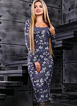 Женское вязаное платье-миди с цветочным принтом (2376-2379-2377 svt), фото 2