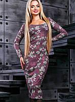 Женское вязаное платье-миди с цветочным принтом (2376-2379-2377 svt)