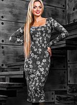 Женское вязаное платье-миди с цветочным принтом (2376-2379-2377 svt), фото 3