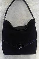 Сумка женская черная замшевая с лаковыми вставками.