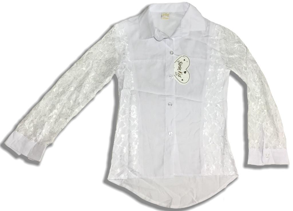 Блузка для девочки с кружевным рукавом