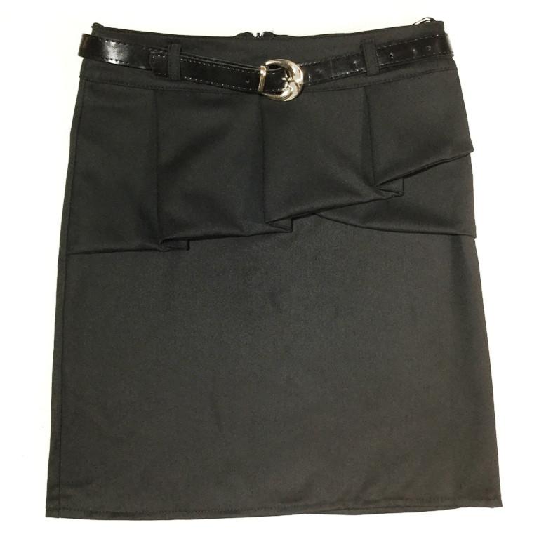 Черная школьная юбка с баской на 7-11 лет