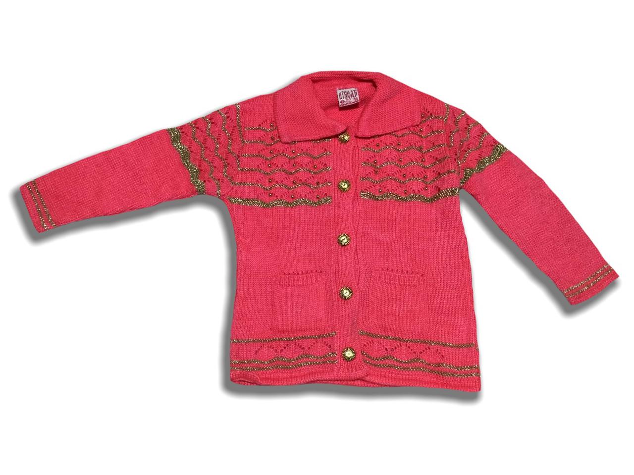 Красивая вязанная кофта для девочки на 1-3 года