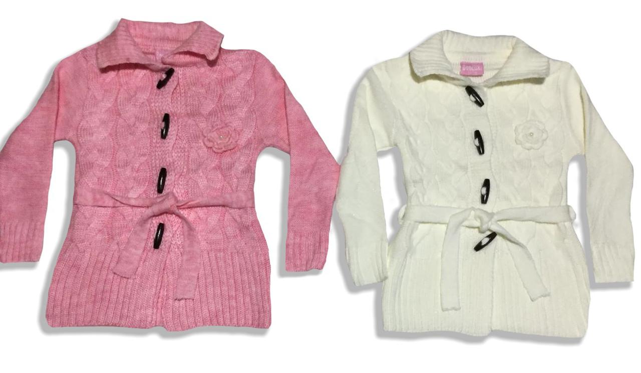 Теплый вязаный кардиган для девочки на 6-8 лет