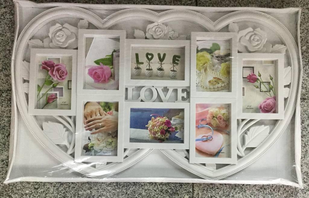 Фоторамка коллаж 8 фото LOVE-двойное сердце