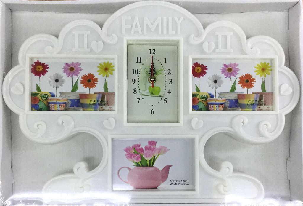 Фоторамка коллаж на 3 фото + часы FAMILY(A048-1)