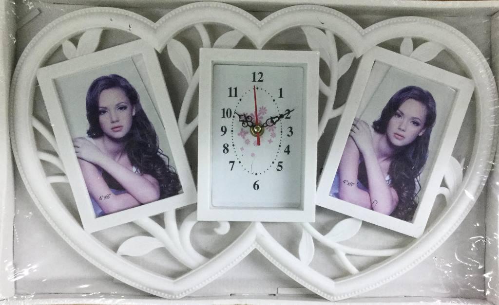 Мультирамка на 2 фото + часы (Z014)