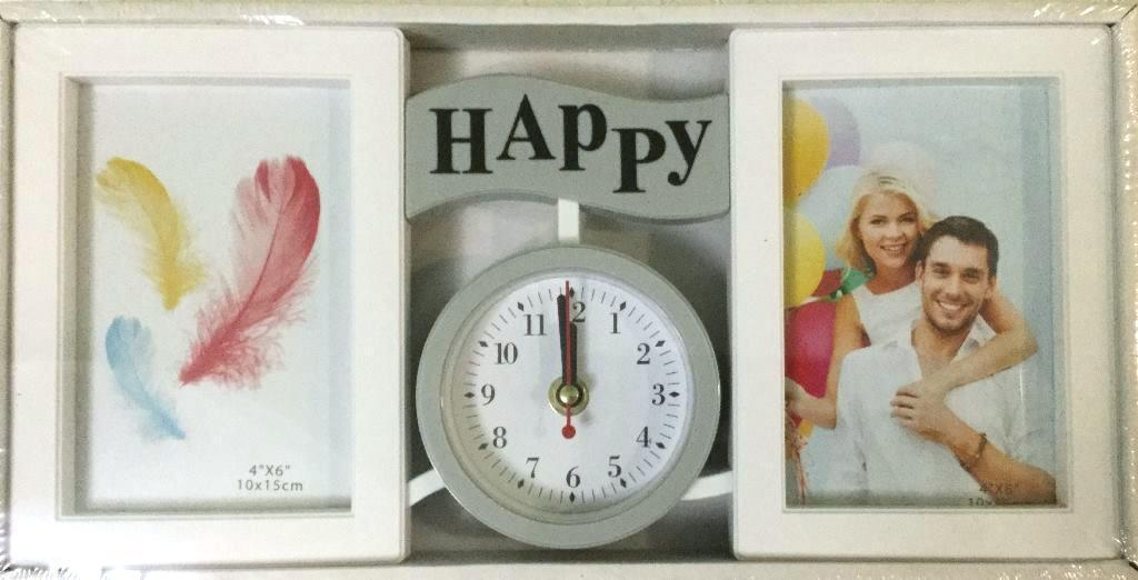 Коллаж на 2 фото + часы HAPPY