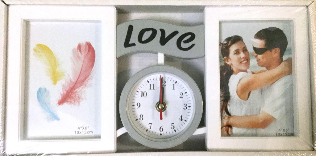 Коллаж на 2 фото+часы LOVE