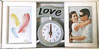 Коллаж на 2 фото + часы LOVE