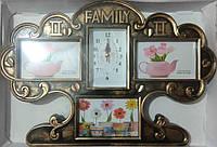 Коллаж на 3 фото + часы FAMILY