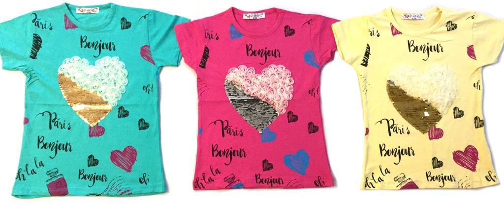 "Детская туника ""Сердце"" с коротким рукавом на 5-8 лет"