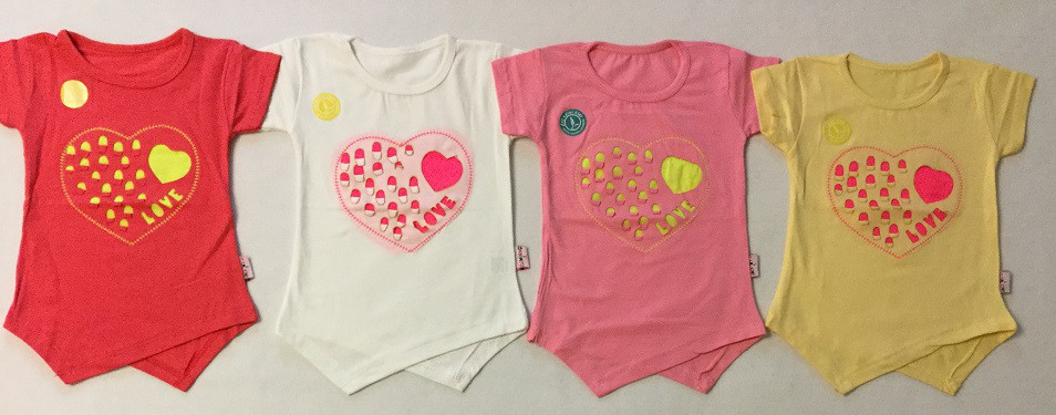 Туника короткий рукав Сердце на возраст 1-4 года