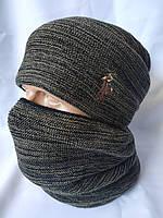Теплая мужская шапка и бафф Polo