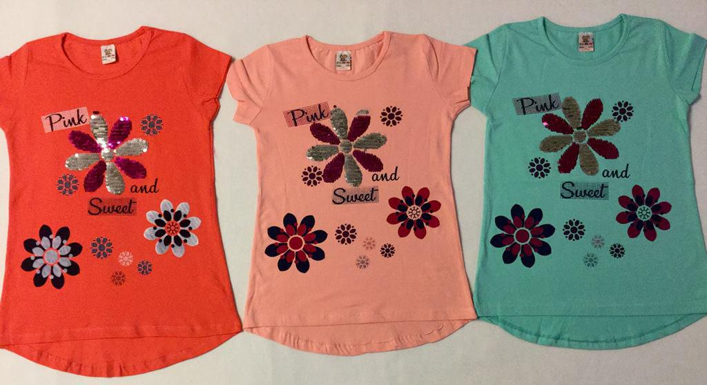 Туника для девочки Цветок 9-12 лет с цветными паетками