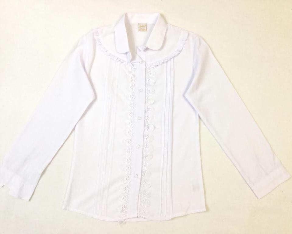 Школьная блузка с кружевом и складками на возраст 9-12 лет