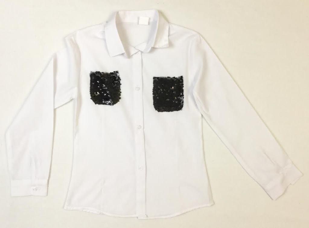 Школьная блузка с кармашками на возраст 9-12 лет