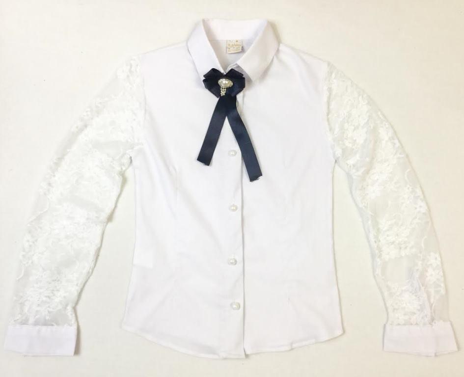 Школьная блузка с брошью на возраст 6-9 лет