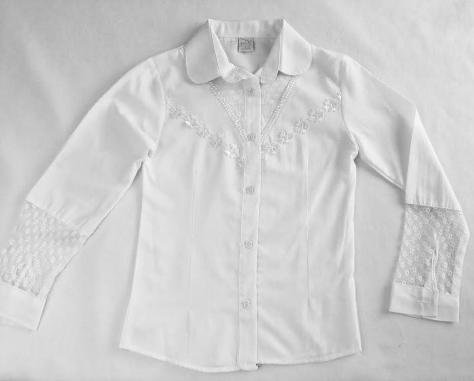 Блузка школьная с рукавом кружево 6-9 лет