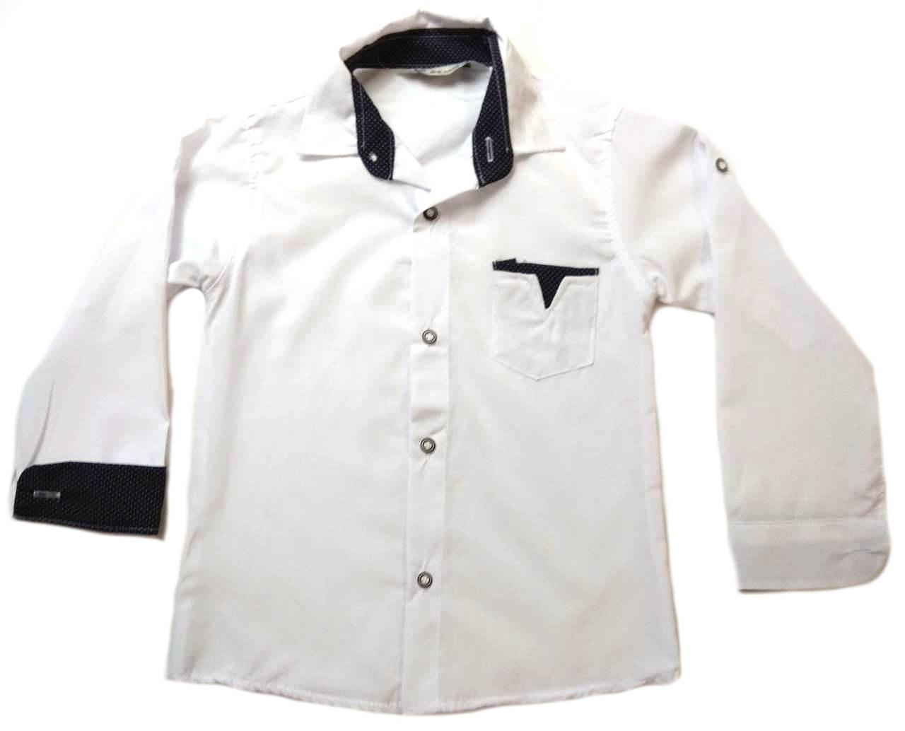 Рубашка белая на мальчика 6-9 лет