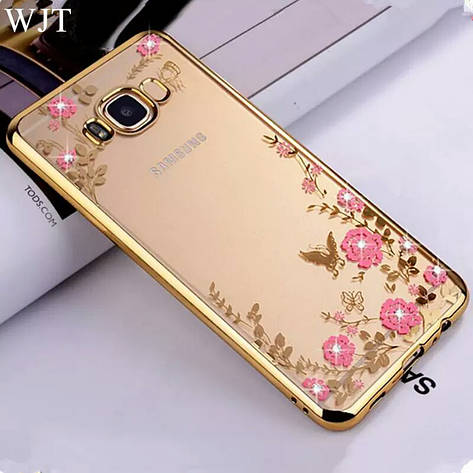 Гламурный роскошный силиконовый чехол для Samsung Galaxy J3 (2016) SM-J320F J320H J320 J36 J320 Gold с камнями, фото 2