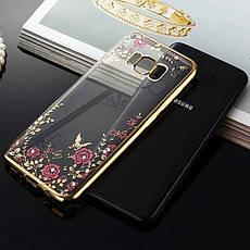 Гламурный роскошный силиконовый чехол для Samsung Galaxy J3 (2016) SM-J320F J320H J320 J36 J320 Gold с камнями, фото 3