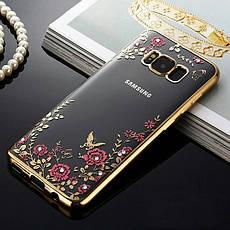 Гламурный роскошный силиконовый чехол для Samsung Galaxy J5 2016 J510 SM-J510H/DS Rose с камнями, фото 3