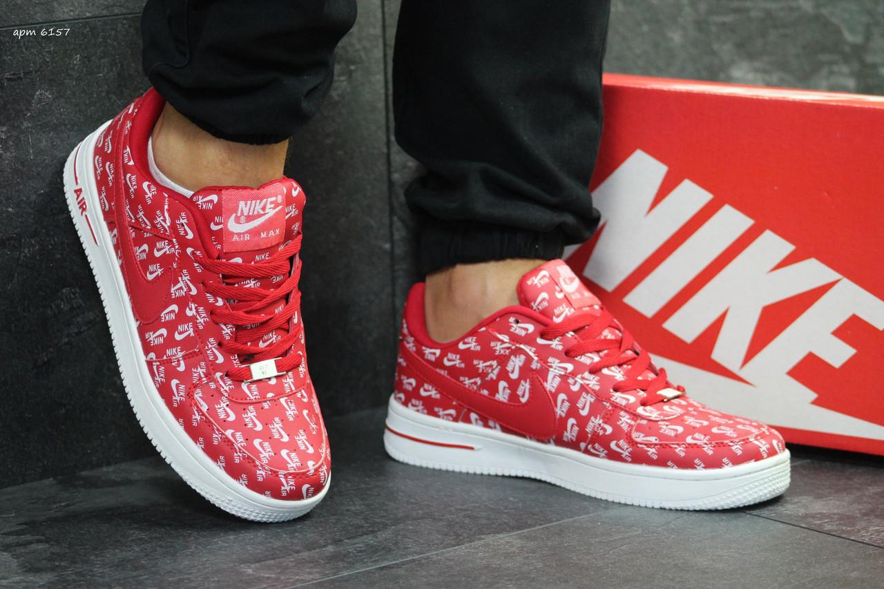 Мужские кроссовки Nike Air Force,красные с белым 41,44р