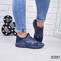 Кроссовки женские в стиле Huarache синие 5551, люкс качество