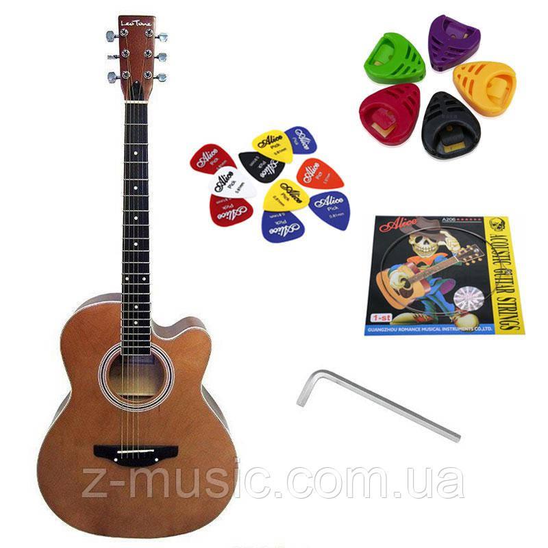 Гитара акустическая Trembita Leotone L-01 Nat (струна, копилка, медиатор)