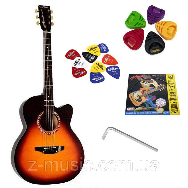 Гитара акустическая Trembita Leotone L-01 SB (струна, копилка, медиатор)