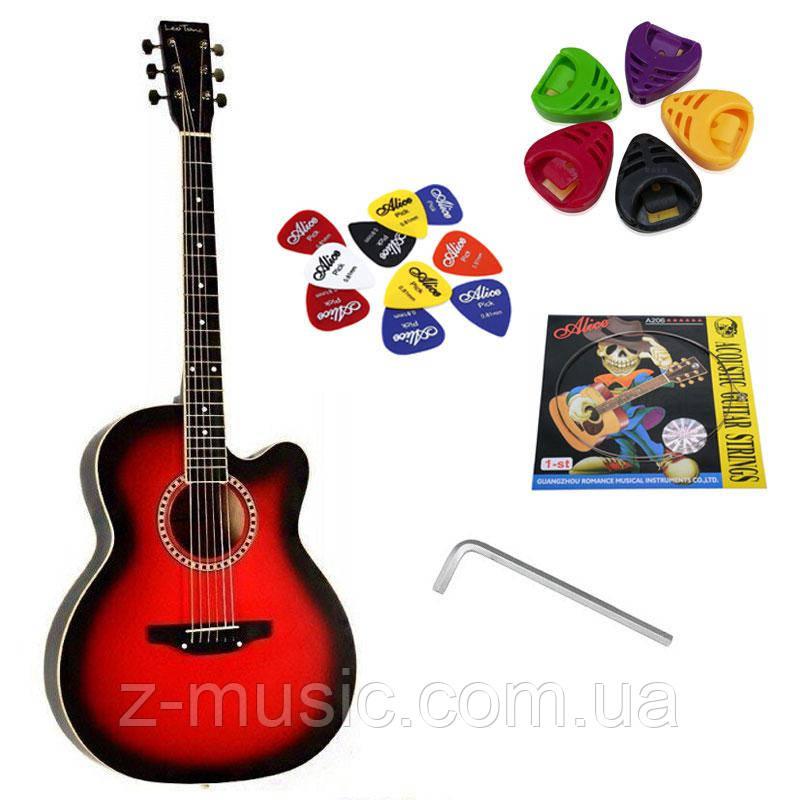 Гітара акустична Trembita Leotone L-01 RD (струна, скарбничка, медіатор)