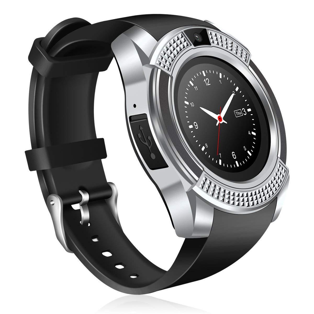 Часы Smart Watch Phone V8 Серебристые с черным (8809)