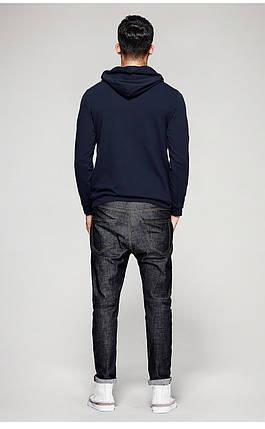 Чоловіча кофта худі на застібці темно-синя, фото 2