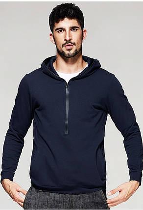 Мужская кофта худи на застежке темно-синяя, фото 2