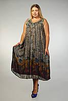 Платье - разлетайка коричнево-серое, на 52-62 р-ры, фото 1