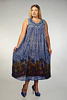 Платье - разлетайка синее, на 52-62 р-ры, фото 1