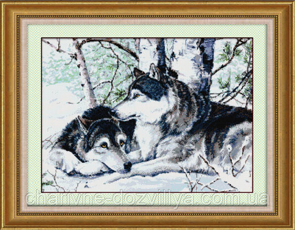 """Набор алмазной вышивки (рисования камнями) """"Пара волков"""""""
