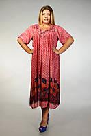 Платье-разлетайка (ламбада) бордовое с рукавом, на 52-62 размеры, фото 1