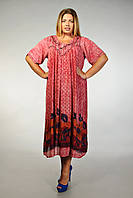 Платье-разлетайка (ламбада) бордовое с рукавом, на 52-62 размеры