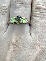 Серебряное кольцо (позолота) с хризолитом