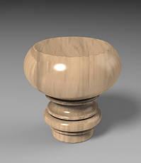 Ножка для пуфика, тумбы, дивана, кресла, кровати круглая точеная из дерева. 70 мм., фото 2