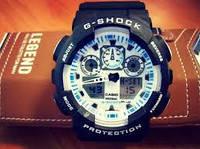 Стильные Мужские часы Casio G-Shock GA 100 Black White White(реплика)