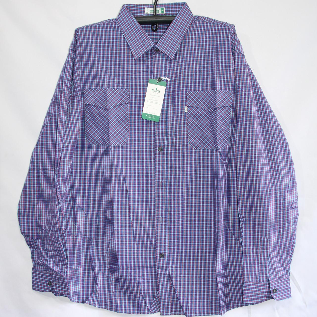 Мужская котоновая рубашка Батал (длинный рукав) оптом со склада в Одессе