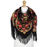 Черные глаза 1194-18, павлопосадский платок шерстяной с шерстяной бахромой, фото 2
