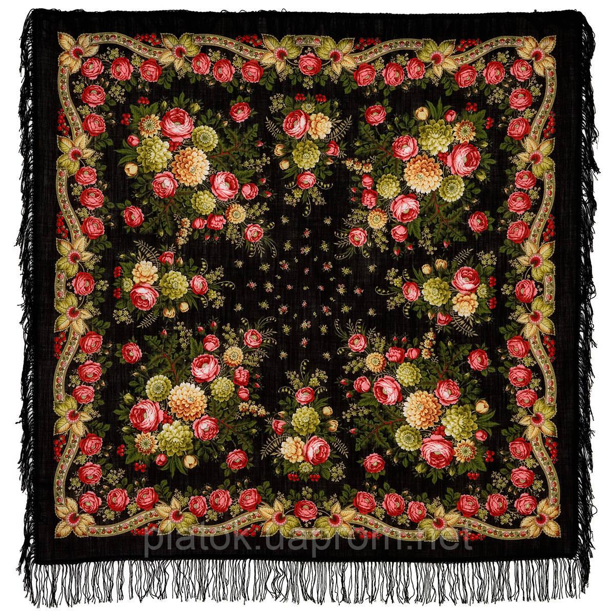 Черные глаза 1194-18, павлопосадский платок шерстяной с шерстяной бахромой